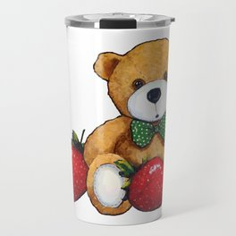 Teddy Bear With Strawberries, Illustration Travel Mug