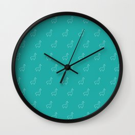 Baesic Llama Pattern (Teal) Wall Clock
