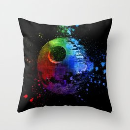 Death Star Abstract Painting - Colorful StarWars Art Throw Pillow