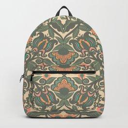 Green Vines Folk Art Flowers Pattern Backpack