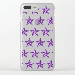 Purple Tattoo Style Star on Black Clear iPhone Case