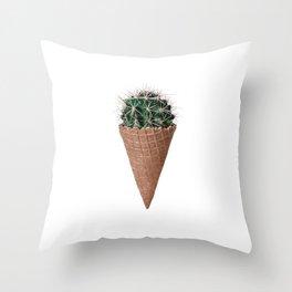 Icecream Cactus, Funny Cactus Print Throw Pillow