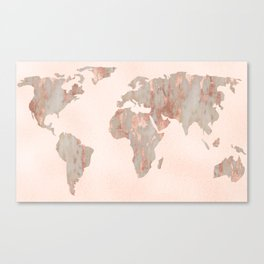 Rosegold Marble Map of the World Canvas Print