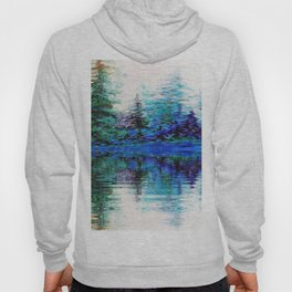 SCENIC BLUE MOUNTAIN PINES LAKE REFLECTION Hoody