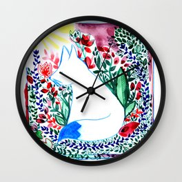 white fox in flowers landscape Wall Clock