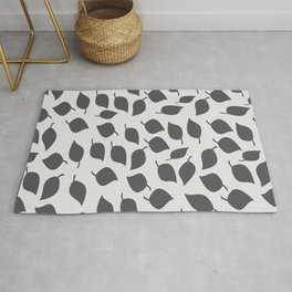 Leaves in Grey and Light Grey Rug