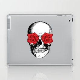 Skull and Roses | Grey and Red Laptop & iPad Skin