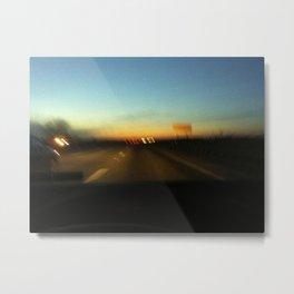 Sunset road trip blue gradient Metal Print