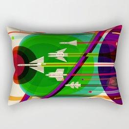 NASA Space Saturn Shuttle Retro Poster Futuristic Explorer Rectangular Pillow