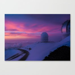 Astronomical Telescopes Sunset at Mauna Kea Summit, Big Island, Hawaii Canvas Print