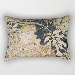 1898 - 1900 Femme a Marguerite by Alphonse Mucha Rectangular Pillow