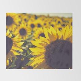 Summer Sunflower Love Throw Blanket