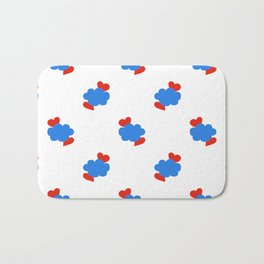 Cloud Hearts Red, White and Blue Sky Bath Mat