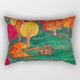Beaver Chomps a Tree Rectangular Pillow