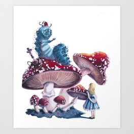 Caterpillar and Alice Art Print