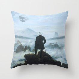 "Homage to Caspar David Freidrich, ""Trooping above the Sea of Fog"" Throw Pillow"