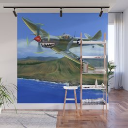 Spitfire Soars Over Hawaii Wall Mural