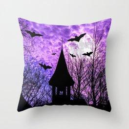 Bats in a full moon night Throw Pillow