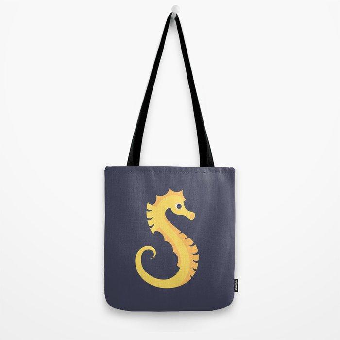 Letter S // Animal Alphabet // Seahorse Monogram Tote Bag
