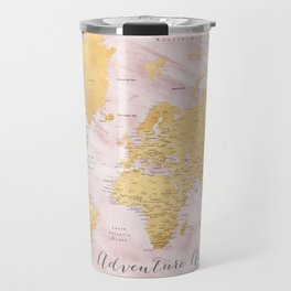 "Adventure awaits, gold and pink marble detailed world map, ""Sherry"" Travel Mug"
