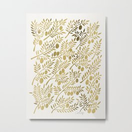 Gold Olive Branches Metal Print