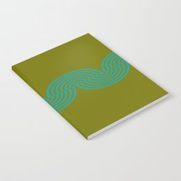 groovy minimalist pattern aqua waves on olive Notebook