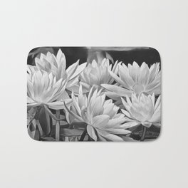 Water Lily in Black and White Bath Mat