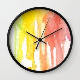 Rainbow Watercolor Texture Pattern Abstract Wall Clock