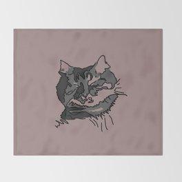 Pink Sleeping Cat Throw Blanket