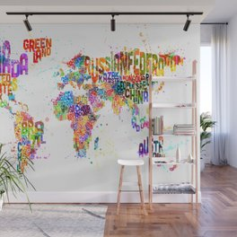 Paint Splashes Typography Text World Map Wall Mural