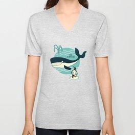Whales and penguins Unisex V-Neck