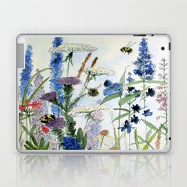 Wildflower in Garden Watercolor Flower Illustration Painting Laptop & iPad Skin