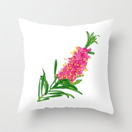 Beautiful Pink Australian Native Floral Illustration Throw Pillow
