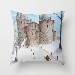 Castell Coch (Red Castle) - Winter Throw Pillow