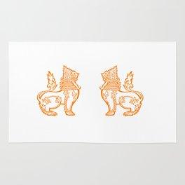 Orange Burmese Lion Rug
