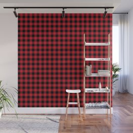 Winter red and black plaid christmas gifts minimal pattern plaids checked Wall Mural
