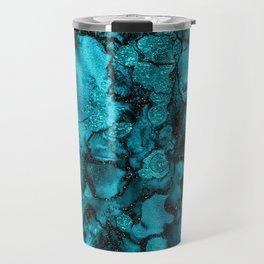 Blue Gemstone and Ink Malachite Glitter Marble Travel Mug