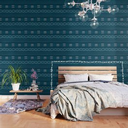 Mudcloth on Teal Wallpaper