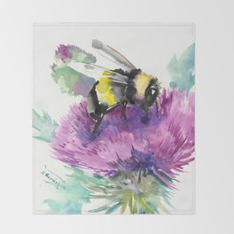 Bumblebee and Thistle Flower, Throw Blanket