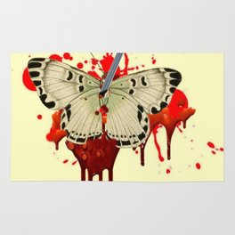 HUMOROUS SURREAL NAILED BLEEDING VAMPIRE BUTTERFLY Rug