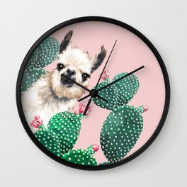 Llama and Cactus Pink Wall Clock