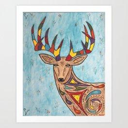 The Colorful Deer Art Print