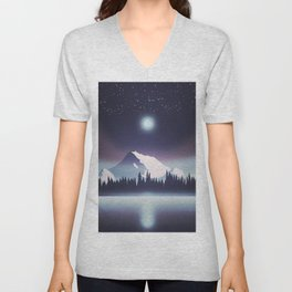 Lake at night Unisex V-Neck