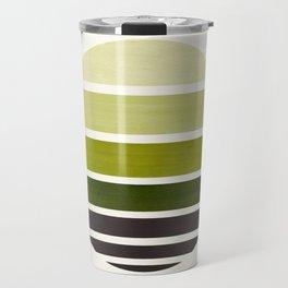 Olive Green Mid Century Modern Minimalist Circle Round Photo Staggered Sunset Geometric Stripe Desig Travel Mug
