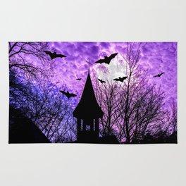 Bats in a full moon night Rug