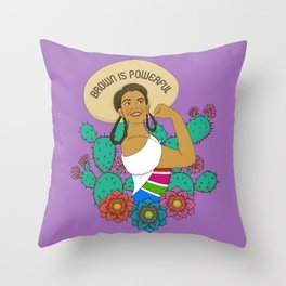 Brown is Powerful Throw Pillow