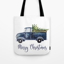 Blue Christmas Truck Tote Bag