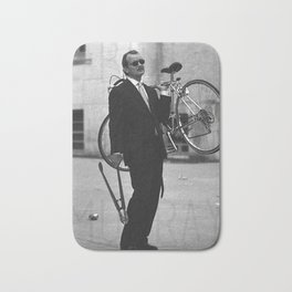 Bill F Murray stealing a bike. Rushmore production photo. Bath Mat
