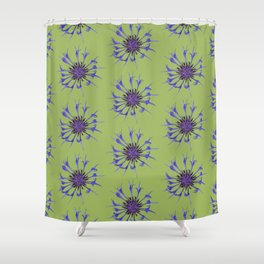 Thin blue flames in a sea of green Shower Curtain