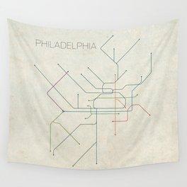 Minimal Philadephia Subway Map Wall Tapestry